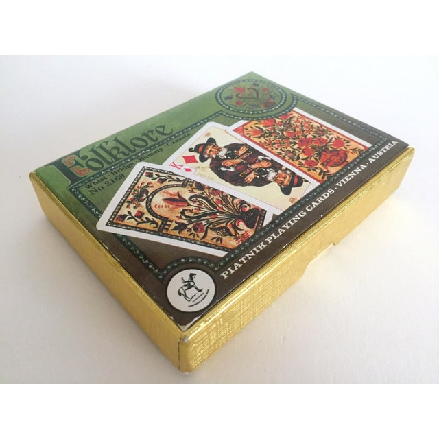 Vintage Mid-Century Folklore Lithograph Playing Cards Double Deck Boxed Set For Sale - Image 4 of 6