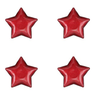 Kenneth Ludwig Chicago Festa Glass Red Star Dish - Set of 4 For Sale