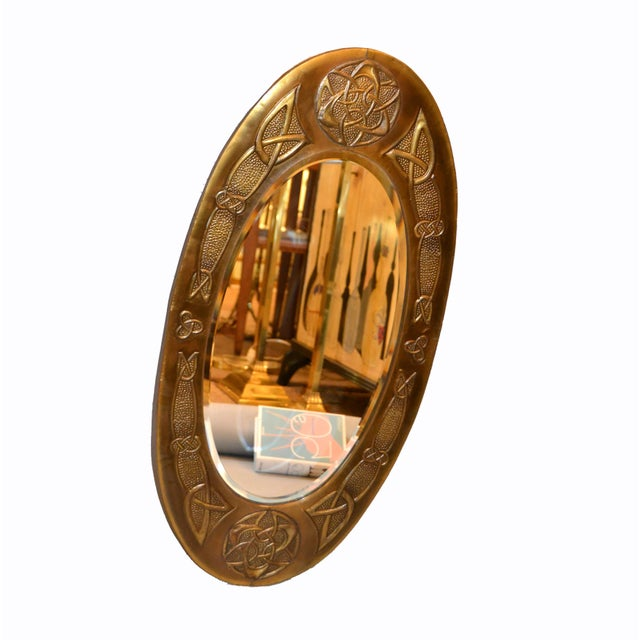 Arts And Crafts Celtic Knot Design Oval Bronze Wall Mirror From United Kingdom Chairish