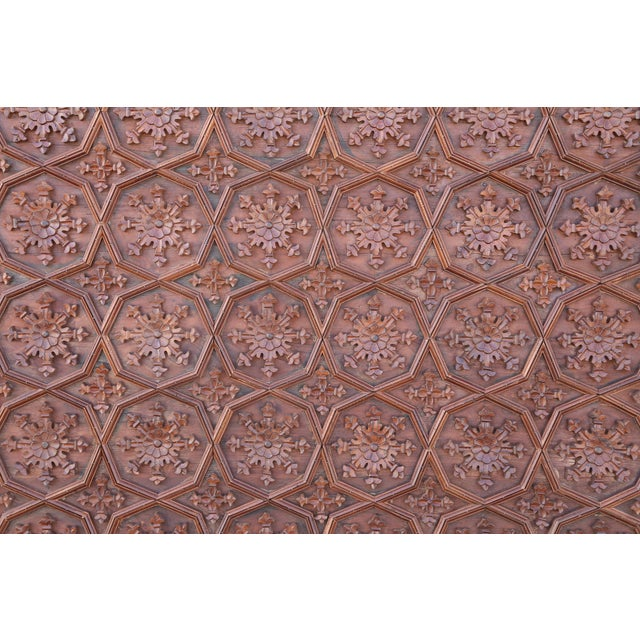 Anglo-Indian 1880s Carved Solid Teak Wood Ceiling From Temple in Deccan For Sale - Image 3 of 11
