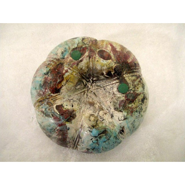 Melon Shaped Raku Studio Pottery Vase by Ken Shores For Sale - Image 4 of 8