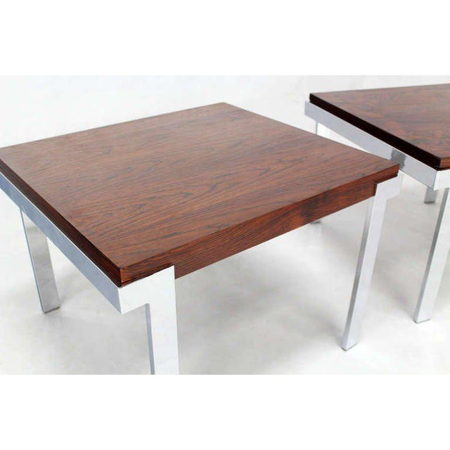 Mid-Century Modern Pair of Baughman Rosewood & Chrome Mid-Century Modern End Tables For Sale - Image 3 of 8