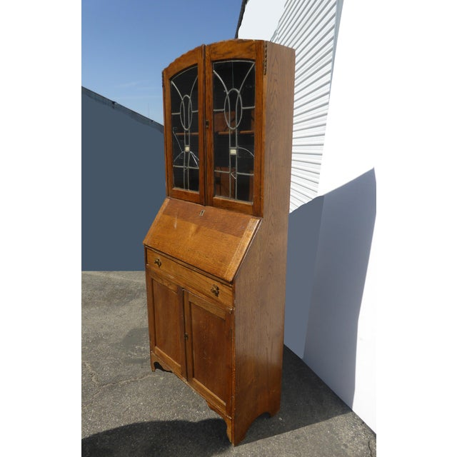 Antique Oak French Country Hutch Storage Curio Cabinet