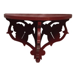 Americana Folk Art Red Lacquered Display Shelf For Sale