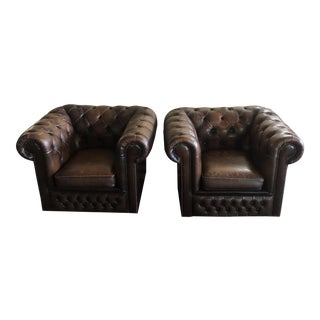 Vintage Chesterfield Tufted Club Lounge Chairs- a Pair For Sale