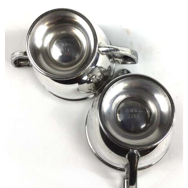 1960s Oxford Silver Plated Sugar and Creamer - a Pair For Sale - Image 5 of 10