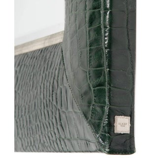 Hunter Green Classic Crocodile Leather Framed Mirror Preview