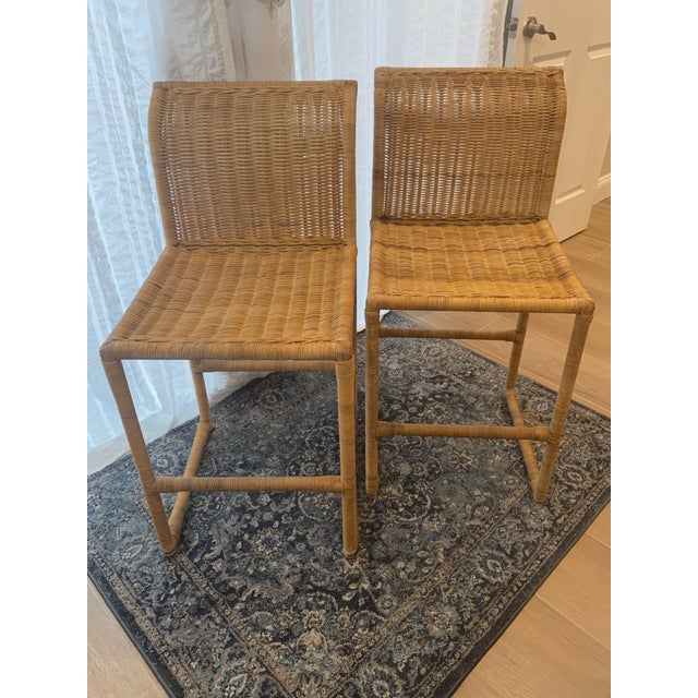 Mid Century Modern Costal Boho Chic Wicker Bar Stools - a Pair For Sale - Image 11 of 13