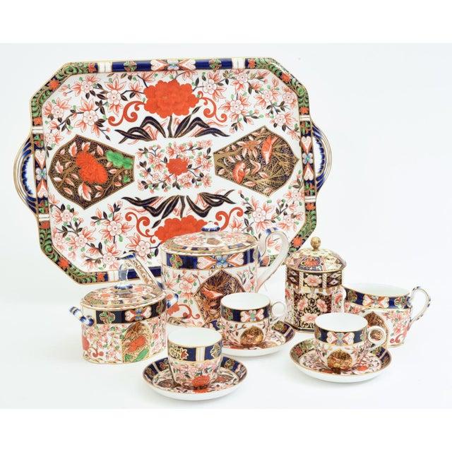 Antique ten-piece royal crown derby imari pattern porcelain cabaret tea service. Each piece is in excellent antique...