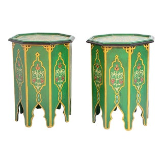 Green Moroccan Hand Painted Pedestal Tables - a Pair For Sale