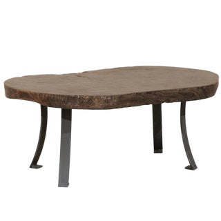 Rustic Burned Teak Wood With Subtle Sheen Oval Shaped Table For Sale