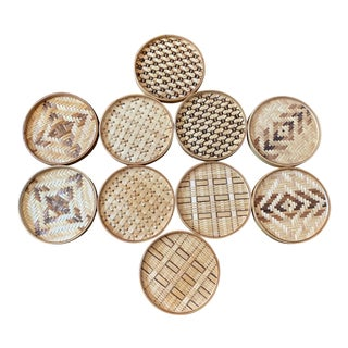 Mid 20th Century Rattan Coasters - Set of 10 For Sale