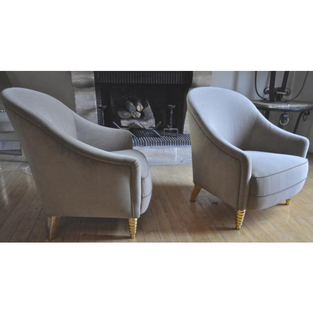 1920s Maison Jansen Refined Pair of Chairs With Gold Leaf Carved Legs For Sale - Image 5 of 5