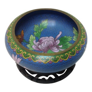 Cloisonne Vintage Bowl With Stand For Sale