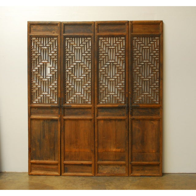 Exquisite hand-carved Chinese door panels featuring intricate geometric lattice work. Constructed using mortise and tenon...