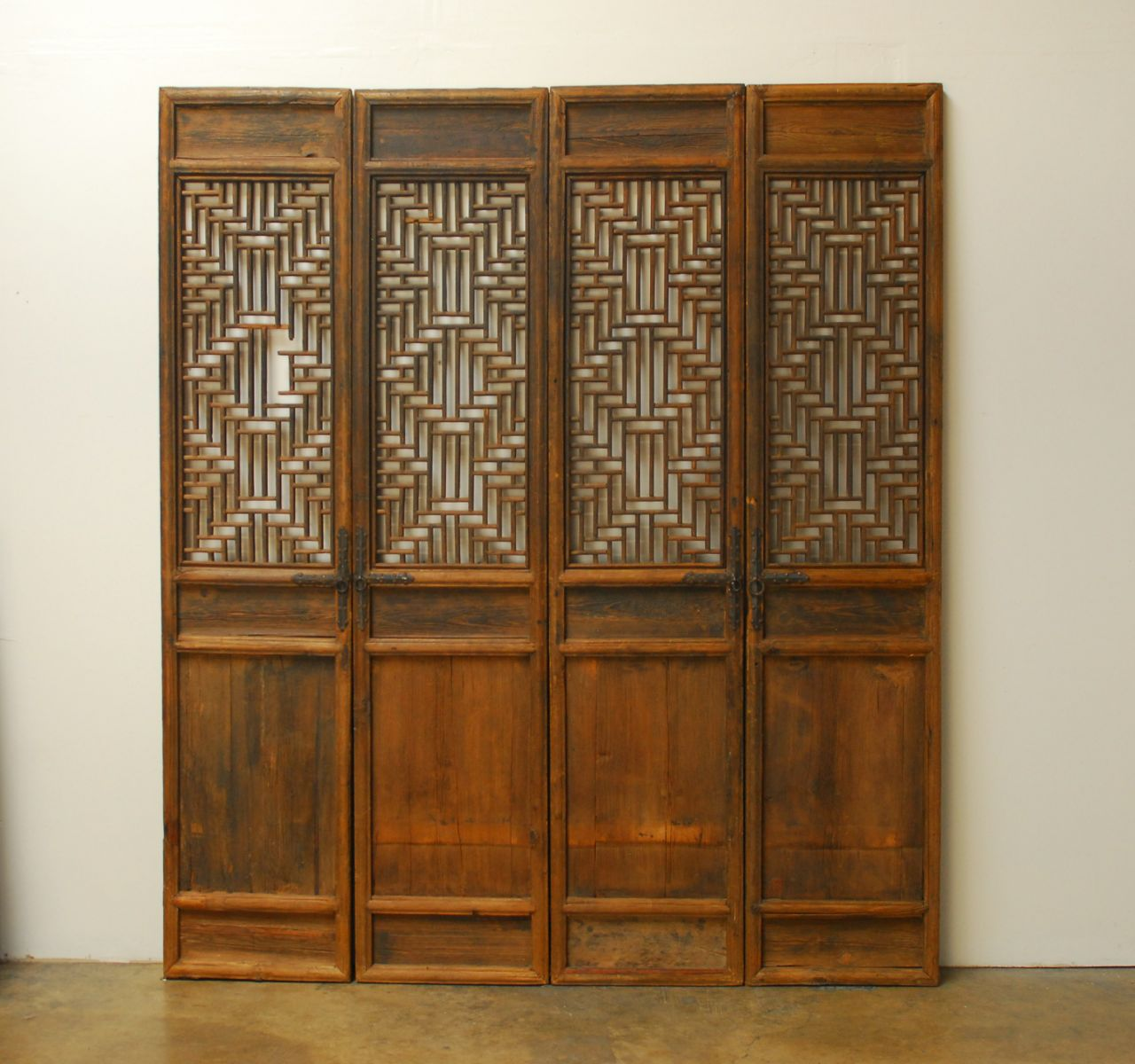 Exquisite Hand Carved Chinese Door Panels Featuring Intricate Geometric  Lattice Work. Constructed Using Mortise