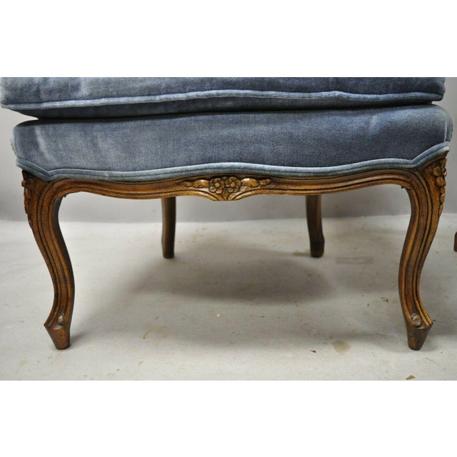 Blue Vintage French Louis XV Provincial Blue Bergere Lounge Arm Chairs - a Pair For Sale - Image 8 of 13