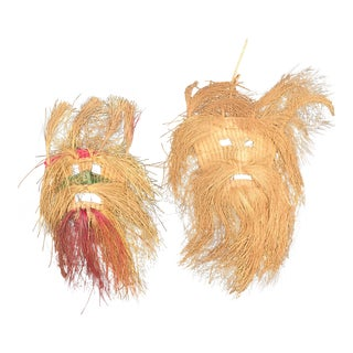 Tribal Style Woven Grass Masks- a Pair For Sale