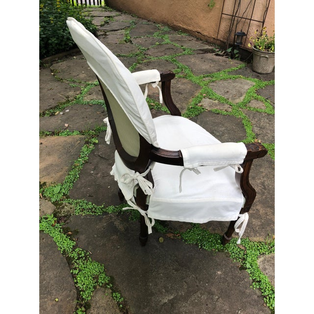 Carved Walnut and Upholstered French Armchair Bergere For Sale - Image 11 of 13