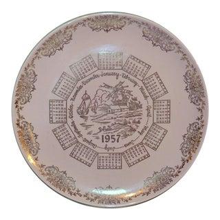 1957 Traditional Pink Ceramic Calendar Plate