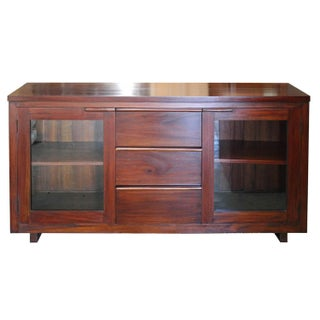 Mahogany & Glass Media Cabinet For Sale