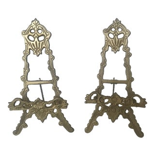 Vintage Brass Table Easels - a Pair For Sale