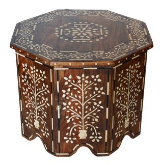 Indian Octagonal Bone Inlay Table For Sale