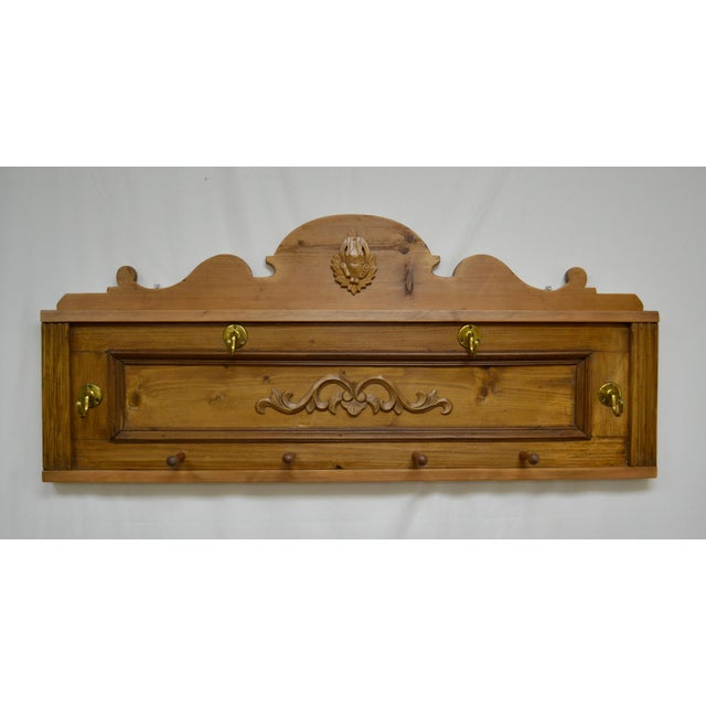 Pine Wall-Mounted Hat and Coat Rack For Sale - Image 10 of 10
