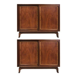 Pair of John Widdicomb Mahogany Inlaid Chests For Sale