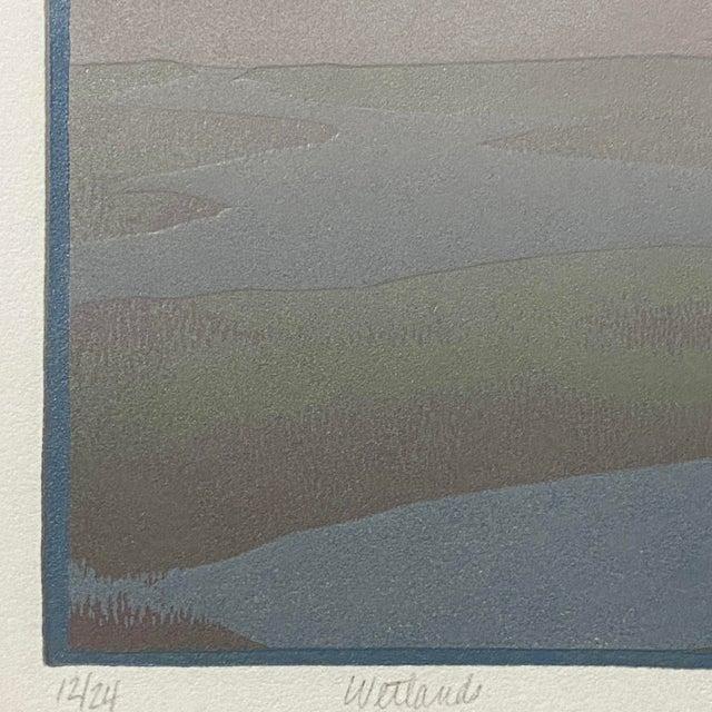 "Modern 1986 ""Wetlands"" Minimalist Linocut Print by Teri Malo For Sale - Image 3 of 6"