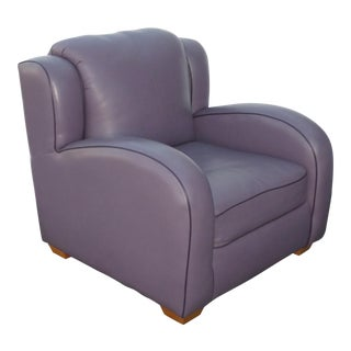Contemporary Lavender Leather Lounge Arm Chair For Sale