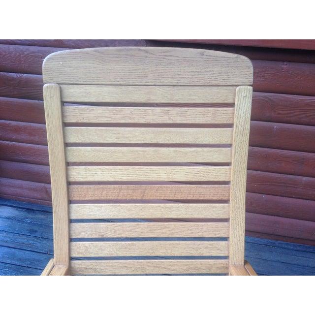 Wood 1990s Vintage R. Benna Bent Oak Slat Back Rocking Chair For Sale - Image 7 of 13