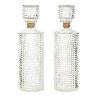 Crystalesque Glass Bottles - a Pair For Sale