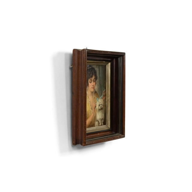 19th Century French Victorian Lady and Poodle Portrait For Sale - Image 5 of 6