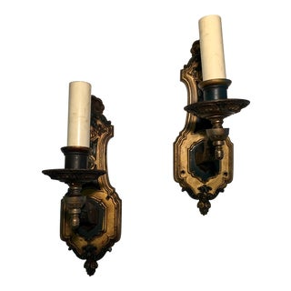 1930's French Style Single Light Sconces - a Pair For Sale