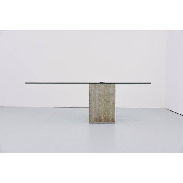 Modern Sergio & Giorgio Saporiti Concrete and Glass Modern Dining Table, circa 1970 For Sale - Image 3 of 3