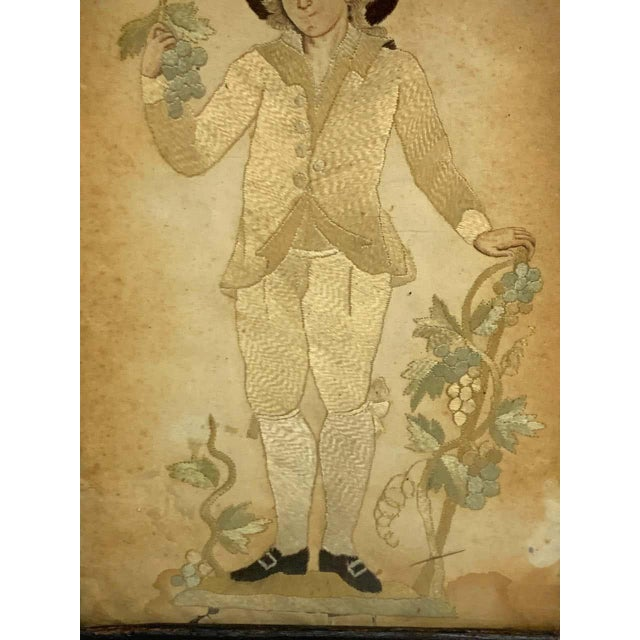 Early 20th Century Early 20th Century Framed Two Sided English Silk Embroideries of Regency Twins For Sale - Image 5 of 8