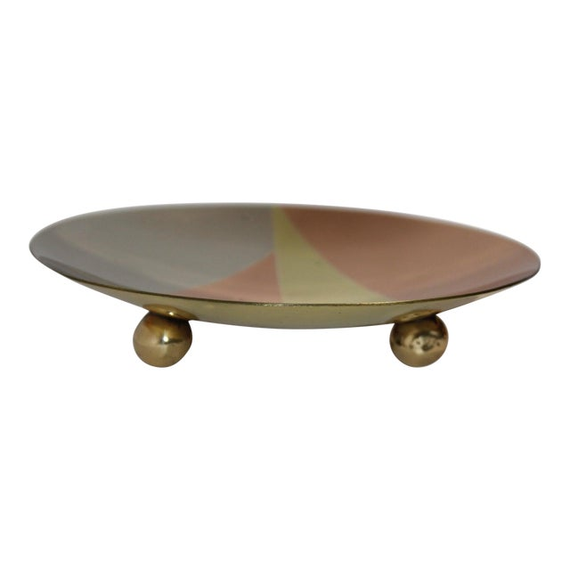 Mid-Century Modern Metales Los Castillo Style Dish Mixed-Metal Round Footed For Sale