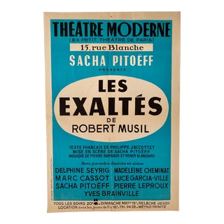1960's French Theatre Moderne - Les Exaltes Poster For Sale