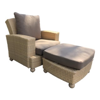 Hularo Outdoor Synthetic Fiber Club Chair & Ottoman For Sale
