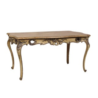 Italian Rococo Style Table Desk With Faux-Marble Top, 19th Century For Sale