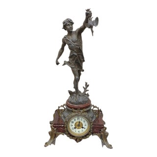 1900s Clock With Bronze Figure For Sale