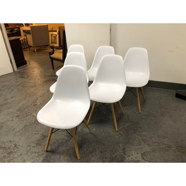 Mid-Century Modern Eames Style White Molded Eiffel Chairs - Set of Six For Sale - Image 3 of 10