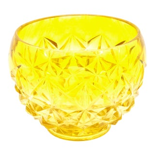 Yellow Mid Century Italian Hand Blown Glass Bowl For Sale