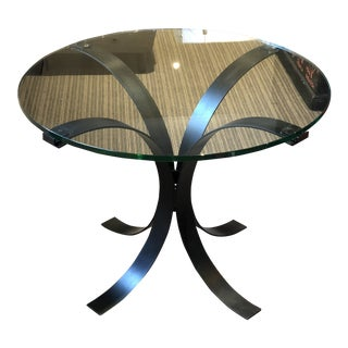 Custom Glass & Iron Arched Black Legs Side Table For Sale