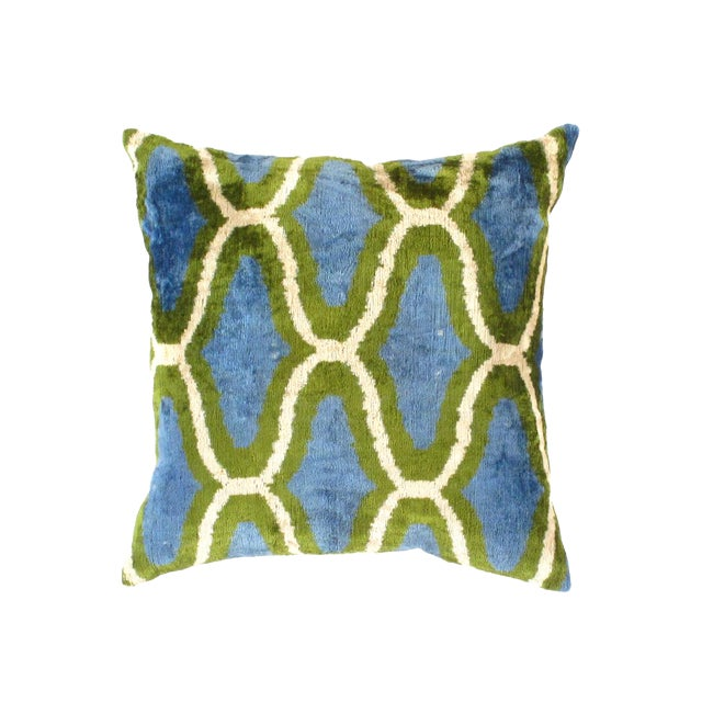 Contemporary Pasargad Oasis Collection Silk Velvet Ikat Pillow - 20ʺW × 20ʺH For Sale