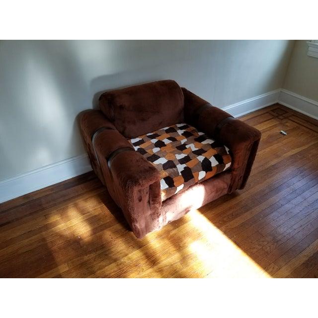 1970s 1970s Vintage Brown Fur/Orange Patchwork Pattern Loveseat For Sale - Image 5 of 6