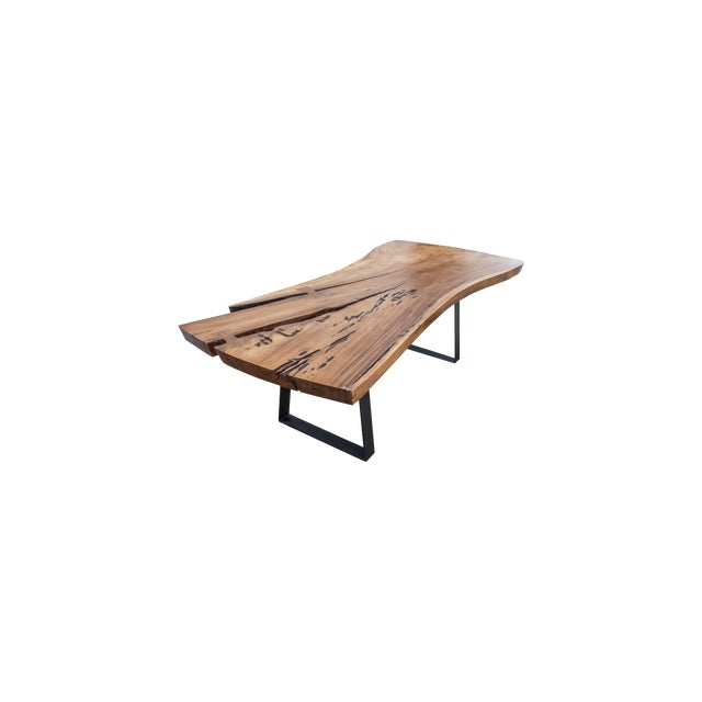 Live Edge Wood Slab Table on Metal Base For Sale
