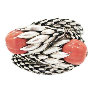 Napier Silver and Coral Bracelet - Rare For Sale