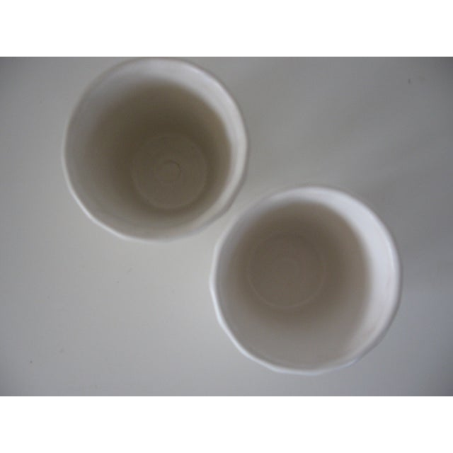Small Matte White Bauer Swirl Planters - A Pair - Image 3 of 5